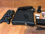 Xbox 360 Slim S Kinect Bundle 10 Games 3 Controllers And Charger