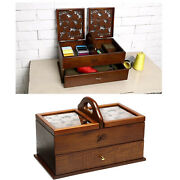Sewing Basket Wood Cantilever Sew Kit Boxes Storage Organizer Case Table