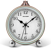Peakeep 4 Battery Operated Antique Retro Analog Alarm Clock, Small Silent Bedsi
