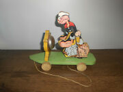 Antique Popeye The Sailor Fisher Price 703 Pull Toy 1936 Wood Original