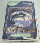 J And P Coats Latch Hook Kit 27 X 20 Art 25051 Sporting Fish Complete Kit