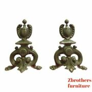 Antique Brass Paw Foot Fireplace Fire Dogs Andirons Tools
