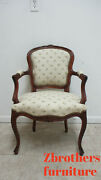 Antique Quality French Country Carved Living Room Arm Lounge Chairs Italian A