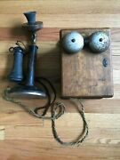 Western Electric 1915 Antique Candlestick Desk Phone W Oak Ring Box Black And Gold