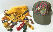 Vintage Lot Of Boy And Cub Scout Webelos Bear Wolf Pins,merit Badges,hat And More
