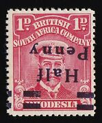 Rhodesia 1917 Half Penny Kgv Admiral 1d Error Inverted Variety Spaced Ny Mnh