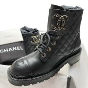 Nib Cc Combat Boots Black 37 Eur Size Leather Quilted Shoes Brooch Gold