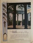 1946 Wallace Sterling Silver Grand Colonial Rose Point Stradivari Patterns Ad