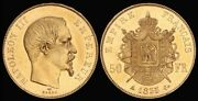 France 1855a Napoleon Iii 50 Francs. Gold, Nearly Fully Lustrous Unc. Km-785.1