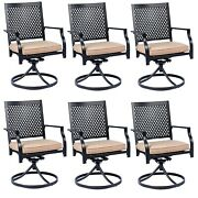 Metal Patio Chair Set Of 6 With Cushion Swivel Dining Chairs Outdoor Furniture