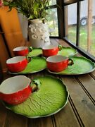 Lot Holt Howard Tomato Soup Cups And Lettuce Sandwich Plates As Is 1962 Campbell