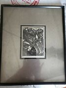 Prayer By Jacques Hnizdovsky Sign And Dated By Artist 1945 Framed Date Oct 24 1946