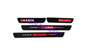 Brabus Style Red Led Door Step Sills Black Matte Mercedes C-class W204 W205 4 Pc