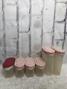 6 Tupperware Spice Containers 2 Tall 4 Short Pink Lids 1846 1843 Vintage
