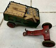 Must See Vintage Antique Green Tin Wagon With Building Blocks Toy Muse See
