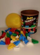 Slinky Brand Triangles In Container W/lid James Industries Vintage Toy 63 Pieces