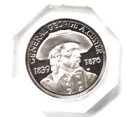 General George Custer 1830 1876 Little Big Horn Last Stand Silver Medal 39mm