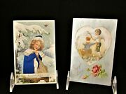 2 Antique Silk Valentine's Day Postcards Constant Love And A Gift Of Love