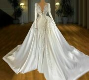 Satin Bride Dress Wedding Gowns Pearls Beading Crystal Lace Illusion Brush Train