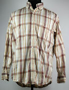 Resistol Tan And Rust Plaid Button-front L/s Cotton Western Shirt M