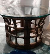 Brown Jordan Bent Bamboo Rattan End Tables W/round Top Glass Lot Of 2