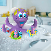 Nuby Purple Octopus Hoopla Floating Bath Toy With 3 Hoopla Rings - Interactive