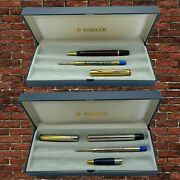 Parker Ballpoint 2 Pens Silver Red Gold Plated Lacquer Us Uk Works Box Mint
