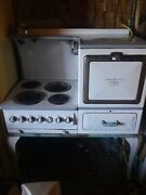 Vintage Ge Hotpoint Automatic Electric Range Stove Oven White And Gray Porcelain