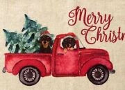 Christmas Dachshund🎄red Truck Accent Rug Floor Holidays Wiener Dogs Free Ship