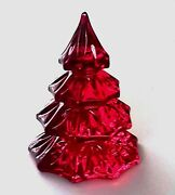 Waterford Crystal Red Xmas Tree Sculpture 2.75 Pristine No Box Seahorse Label