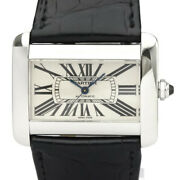 Polished Tank Divan Steel Leather Automatic Mens Watch W6300755 Bf525265