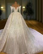 Princess Ball Gown Wedding Kaftans Dresses Sequins Crystal Beading Lace Illusion