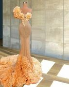 Evening Gowns Dress Heavy Handmade Sewing Glitter Transparent One Shoulder Tulle