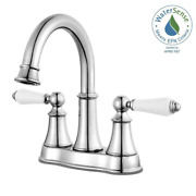 Pfister Centerset 2-handle Bathroom Faucet In Polished Chrome White Handle 4 In