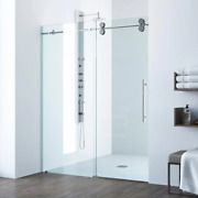 Shower Door 68 To 72 In. X 74 In. Frameless Sliding In Chrome With Clear Glass