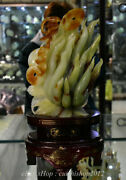 15 Chinese Natural Xiu Jade Hand Carving Feng Shui Ginseng Wealth Sculpture