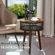 Round Wood Side Table Cafe Balcony Solid End Tables Soft With Storage Layer