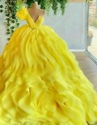Ball Gown Yellow Dresses Ruffles Crystal One Shoulder Sweep Train Sleeveless New