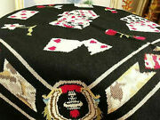 Vintage 36 Completed Needlepoint Rug Bridge Table Cover Mat Card Black