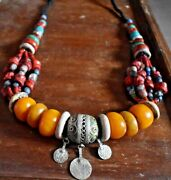 Real Moroccan Women Amber Resin 1 Necklace Handmade African Jewelry Berber Beads