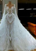 Wedding Party Lace Dresses Vintage Gown Crystal Feathers V Neck Empire Tulle New