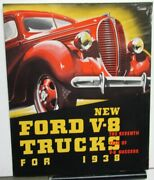 1938 Ford V8 Trucks Stake Chassis Cab Dump Panel Driveaway Chassis Sales Folder