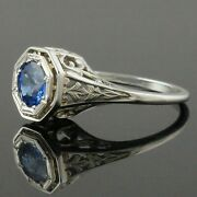 1920s Art Deco Solid 18k White Gold Filigree And 1.0 Ct. Blue Sapphire Estate Ring