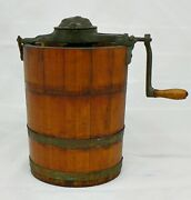 Vintage Wooden With Cast Iron White Mountain Junior Ice Cream Maker