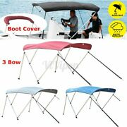 600d Standard Bimini Top 3 Bow Boat Cover 6ft Long W/ Rear Poles And Storage