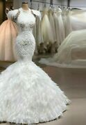 Feather Wedding Dresses Bridal Gowns Lace Crystal Beading Illusion Organza Tulle