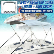 Boat Bimini Top 3 Bow Cover 85-90 Width 6ft W Boot And Framework Rear Pole