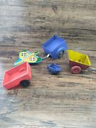 Vintage Lot Of 5 Toy Trailers Tin Airplane Wagon Plastic