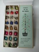Fabulous Set Of 24 Vintage Glass Christmas Feather Tree Ornaments In Orig Box