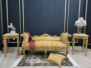 French Style Settee/ Aged 24k Gold Leaf /hand Carved Wood Frame / Tufted Honey Y